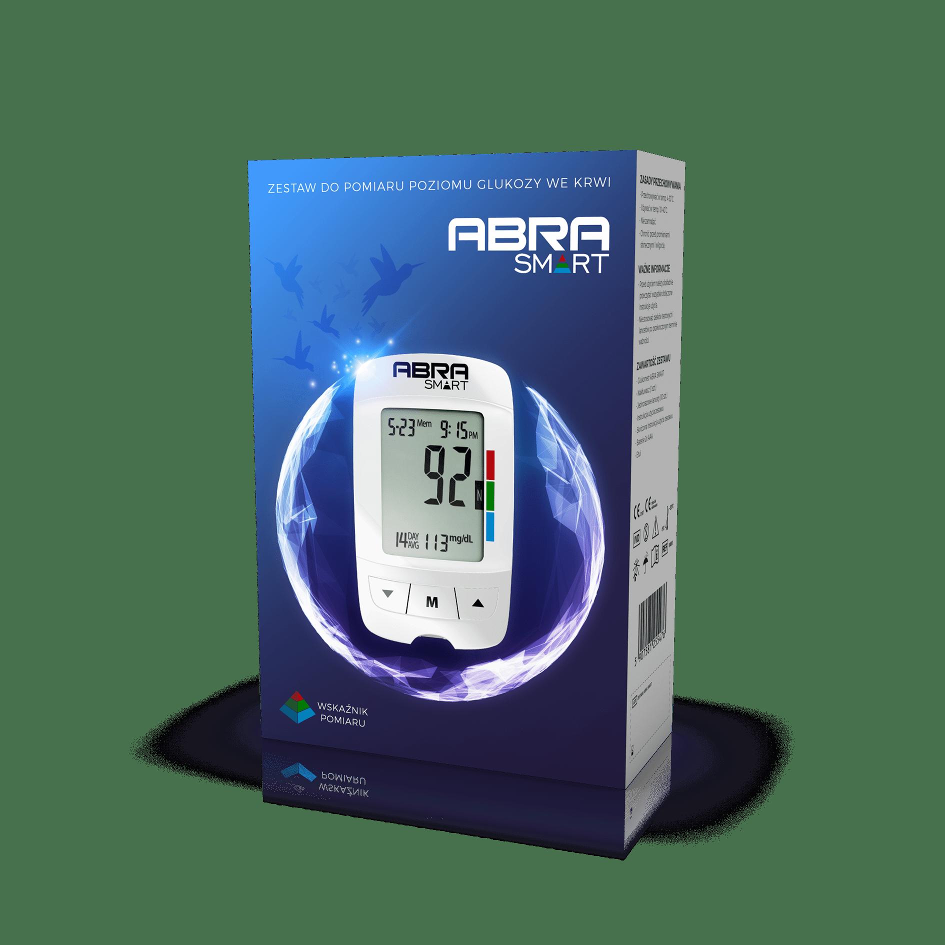 Zestaw do pomiaru poziomu glukozy we krwi zawiera: Glukometr ABRA SMART