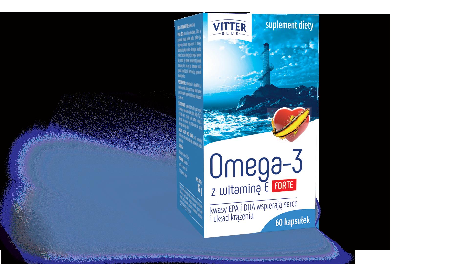 Suplement Diety Kapsułki- Omega 3 z witaminą E FORTE - rybi olej