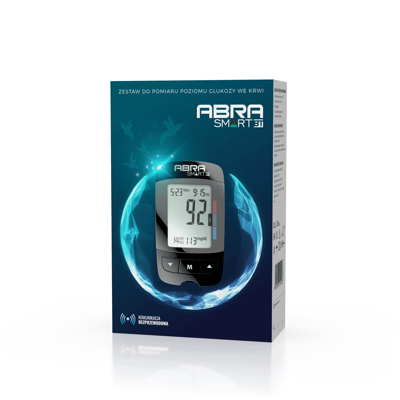 Zestaw do pomiaru poziomu glukozy we krwi zawiera: Glukometr ABRA SMART BT
